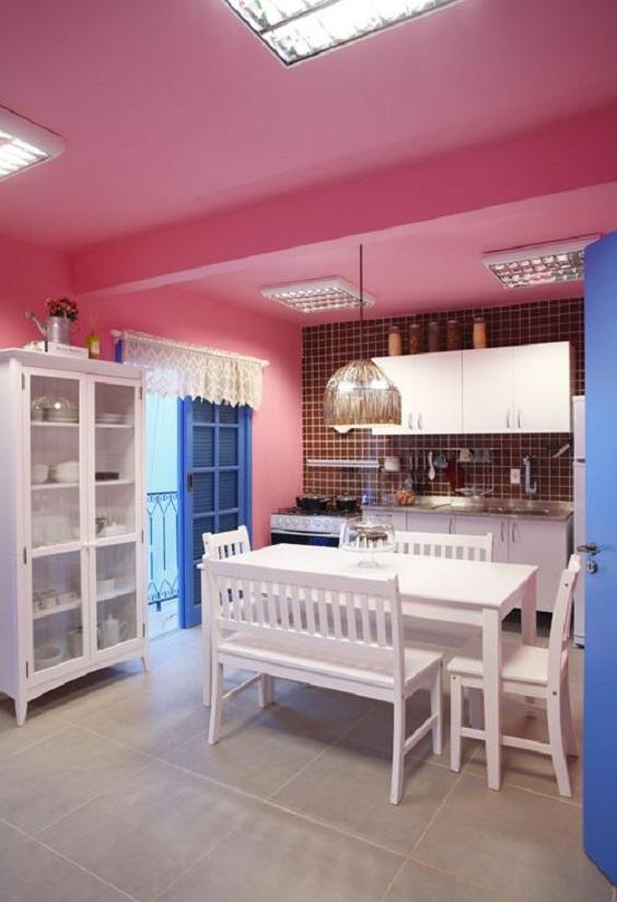 teto colorido cozinha tendência