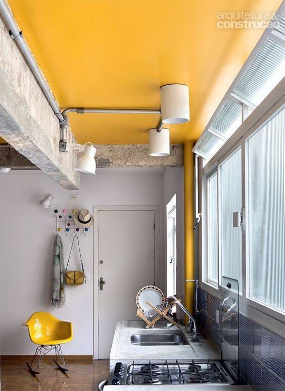 teto colorido cozinha