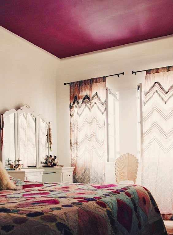 teto colorido quarto tendência