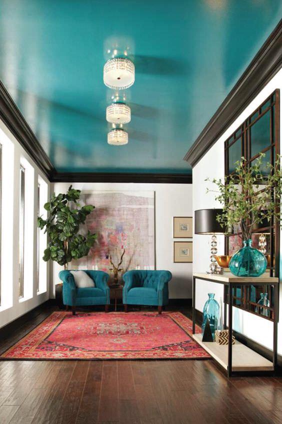 teto colorido sala tendência
