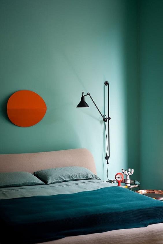 cor na decoração verde e laranja