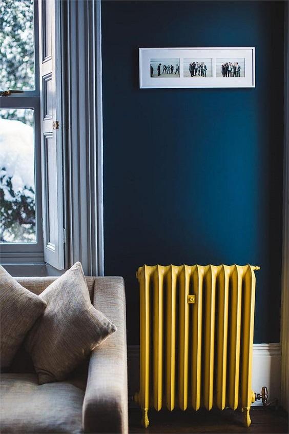 cor na decoração azul e amarelo