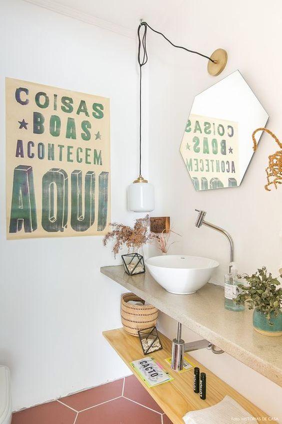 decoração fácil banheiro espelho