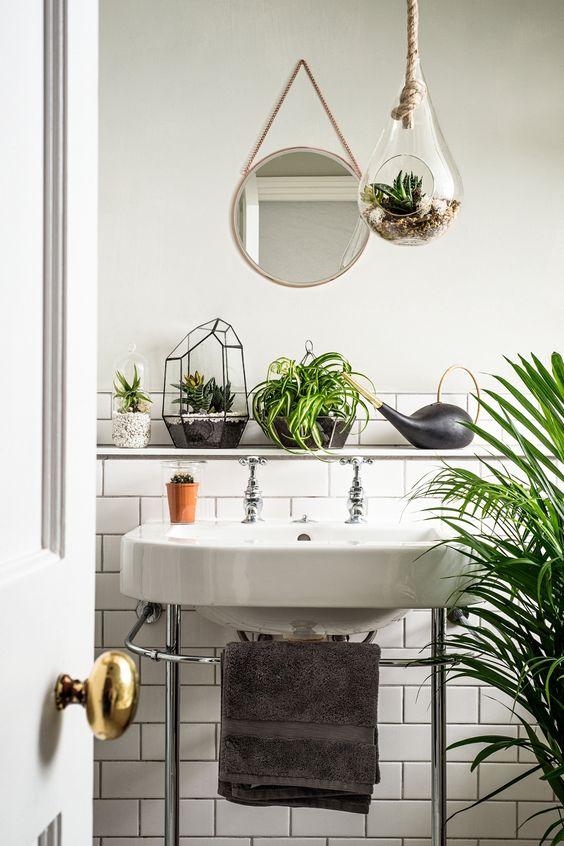 decoração fácil banheiro plantas