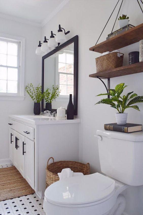 decoração fácil banheiro prateleiras