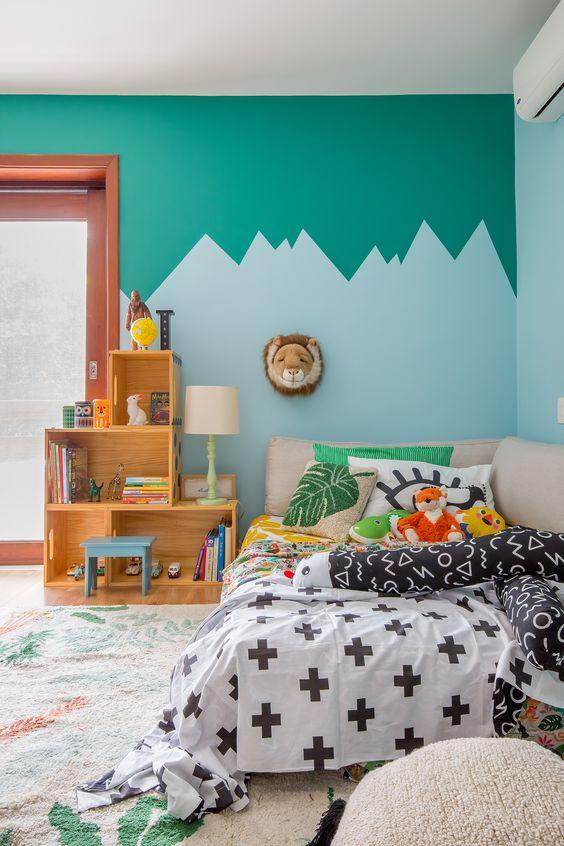 parede geométrica quarto de criança