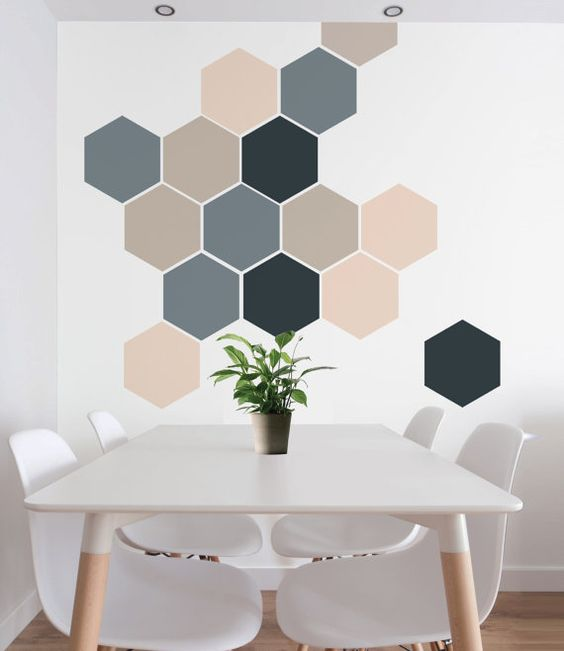 parede geométrica sala jantar