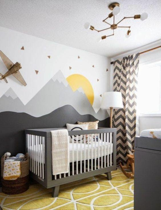paredes geométricas quarto bebê
