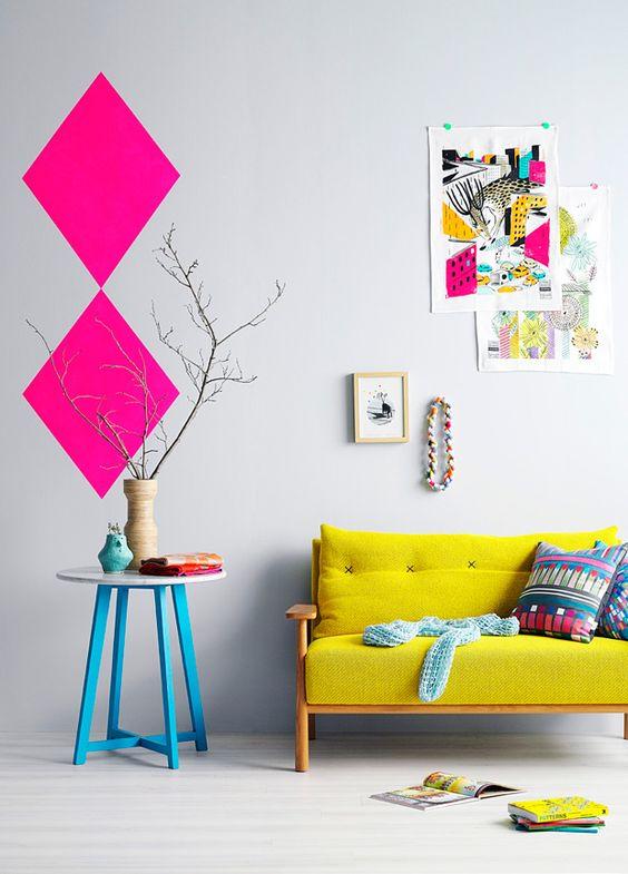 como usar cores neon na decoração