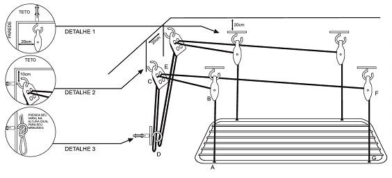 como instalar varal de teto